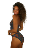 Alternate view of high waisted tan through swimsuit bottoms in multicolor Safari pattern.