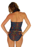 Back of multicolor Safari tan through swimwear bottoms with high waist.