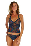 Multicolor Safari print on tan through high waist bikini bottoms.