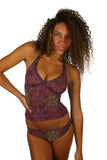 Purple Safari pattern on high waist bikini bottoms from Lifestyles Direct Tan Through Swimwear.