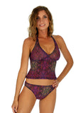 High waisted bathing suits bottoms in purple tan through Safari fabric.