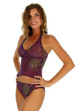 Tan through high waisted bikini bottoms pictured with tankini top in purple Safari print.