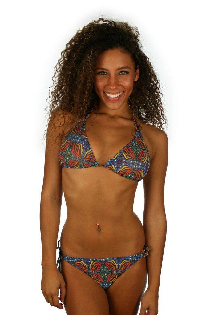 Double tie string bikini bottom in tan through orange Heat print.