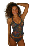 Tan through tankini bikini top in multicolor Safari.