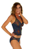 Safari print in multicolor option on tan through tankini top.