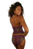 Tan through tankini top in purple Safari print.