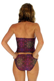 Back of tan through tankini top in purple Safari.