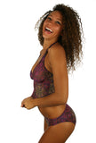 Tankini tan through bikini top in purple Safari.