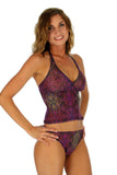 Purple Safari tankini top from Lifestyles Direct Tan Through Swimwear.