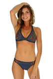 Tan through multicolor Safari halter bikini top.