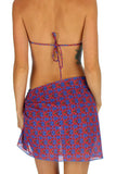 Tan through swimsuit wrap in blue Hibiscus.