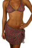 Short sarong in green Hibiscus print -- Lifestyles Direct Tan Through Swimwear.