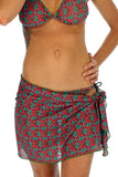 Lifestyles Direct swimwear sarong in green Hibiscus print.