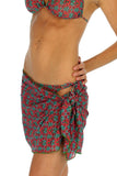 Hibiscus print, green option, tan through sarong.