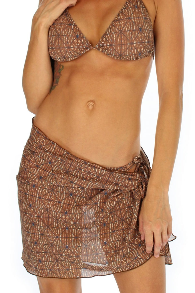 Brown Caged short swimsuit coverup from Lifestyles Direct Tan Through Swimwear.