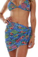 Tan through sarong swimwear wrap -- front view -- blue Fiji.
