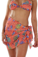 Tan through sarong swimwear wrap -- front view -- orange Fiji.