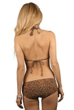 Back view of tan through bikini set with string top and boy leg bottoms in Jaguar print.