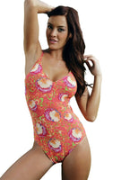 Orange Art Nouveau crisscross adjustable strap women's swimsuit.