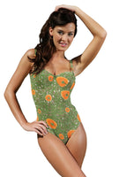 Orient print on underwire support tan through swimsuit with adjustable straps.