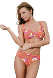 Orange Art Nouveau tan through bikini with C-D underwire bikini top and high waisted bikini bottom.