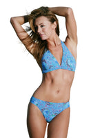 Blue Art Nouveau halter bikini set from Lifestyles Direct Tan Through Swimwear.