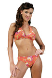 Orange Art Nouveau tan through halter bikini from Lifestyles Direct.