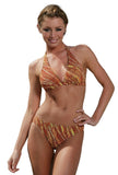 Tan through halter bikini set in brown Animal print.