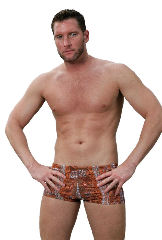 Tan through 9 inch bike short mens swimwear with drawstring in brown Africa print.