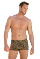 Animal tan through mens bike shorts with 9 inch sides.