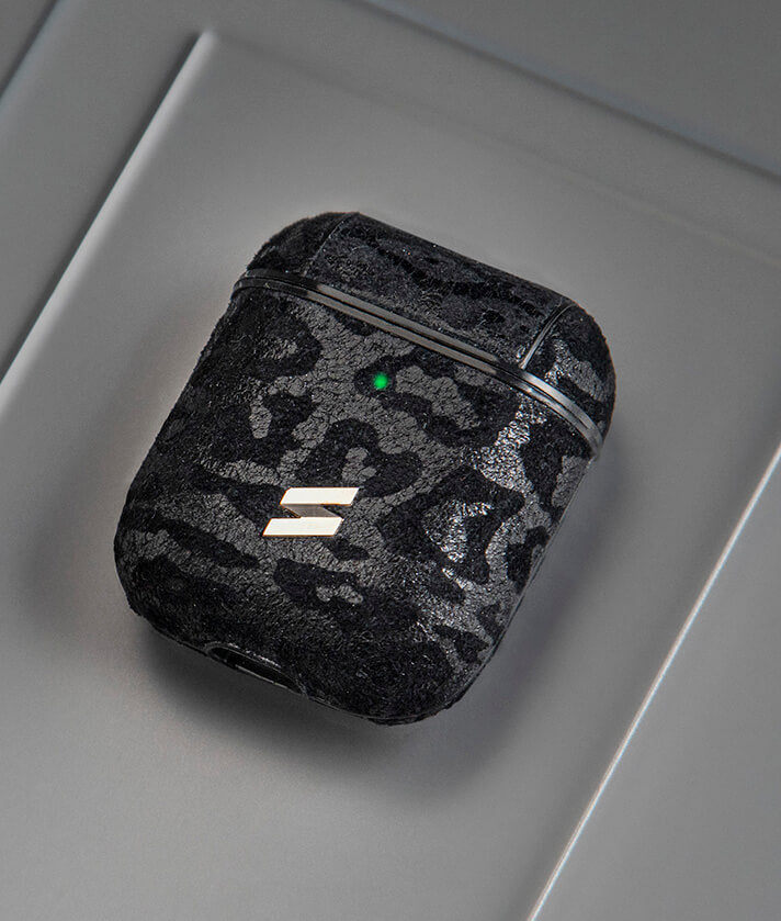 Black leather case with leopard print for airpods