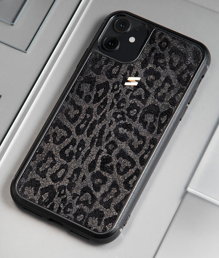 Iphone 11 leather case with black leopard print