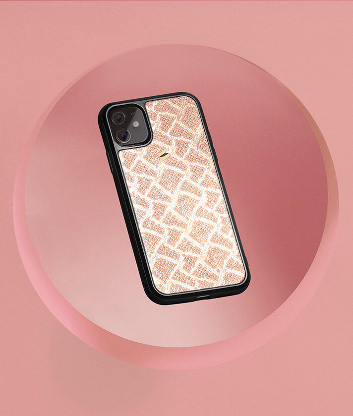 Iphone 11 case made of genuine snake print leather with metallic sparkles