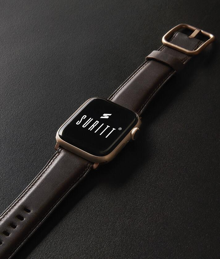 The Horus Dark Brown band for apple watch on a black background