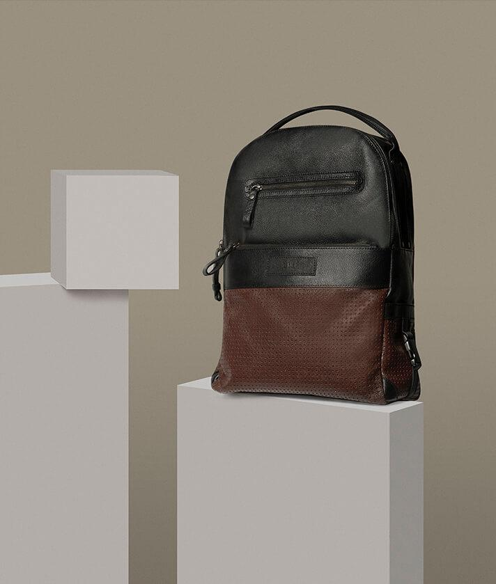 black and brown leather backpack for man