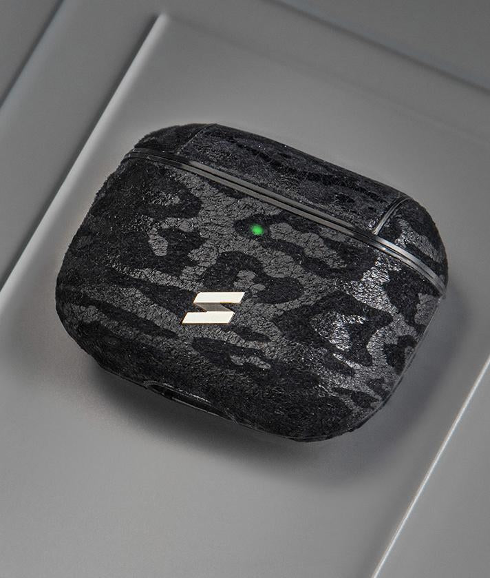 Leo case for airpods pro in leather with black leopard print