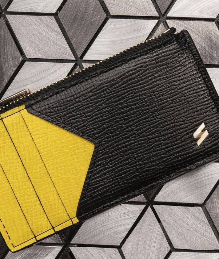 black and yellow coin card made of cowhide leather