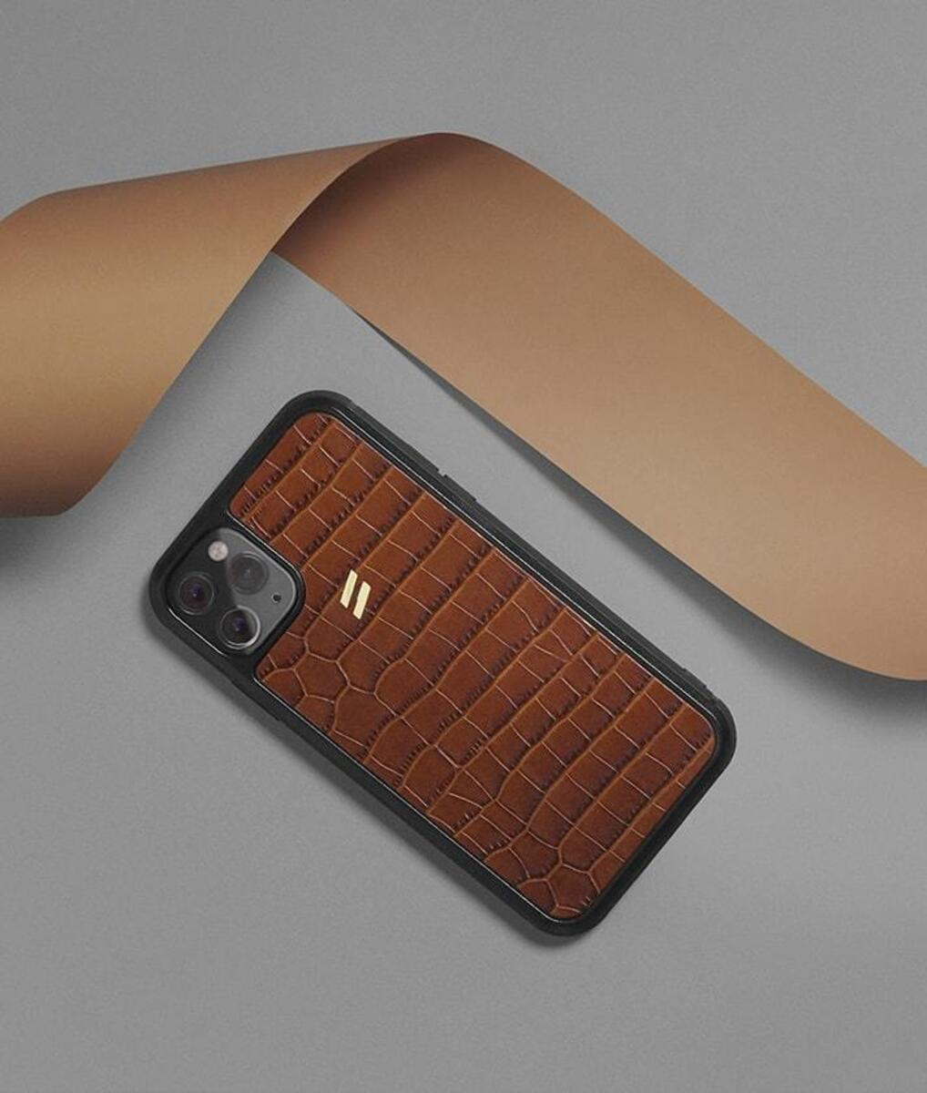 Brown leather case for iphone 11 pro with crocodrile print