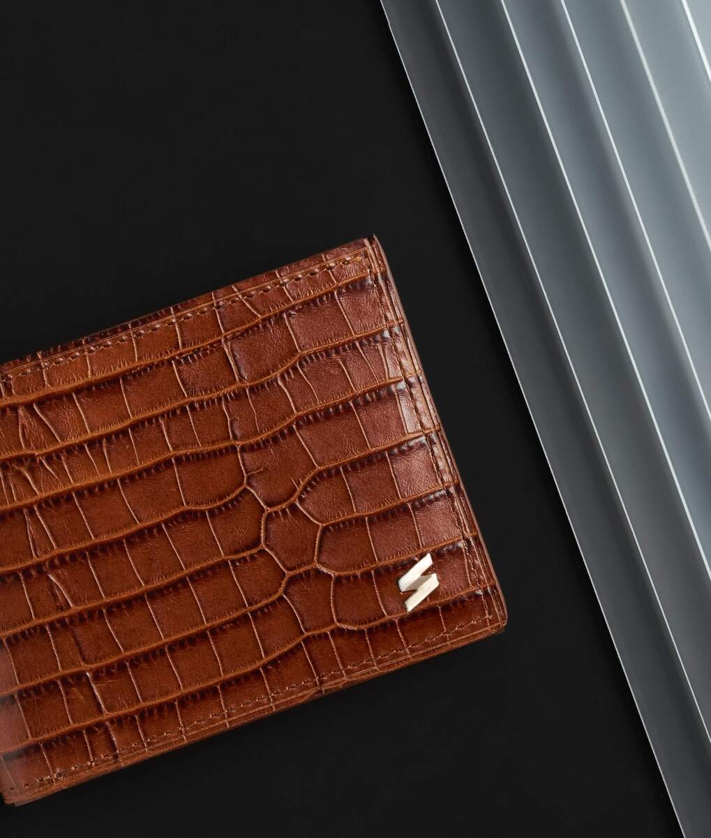 brown leather wallet with crocodile print