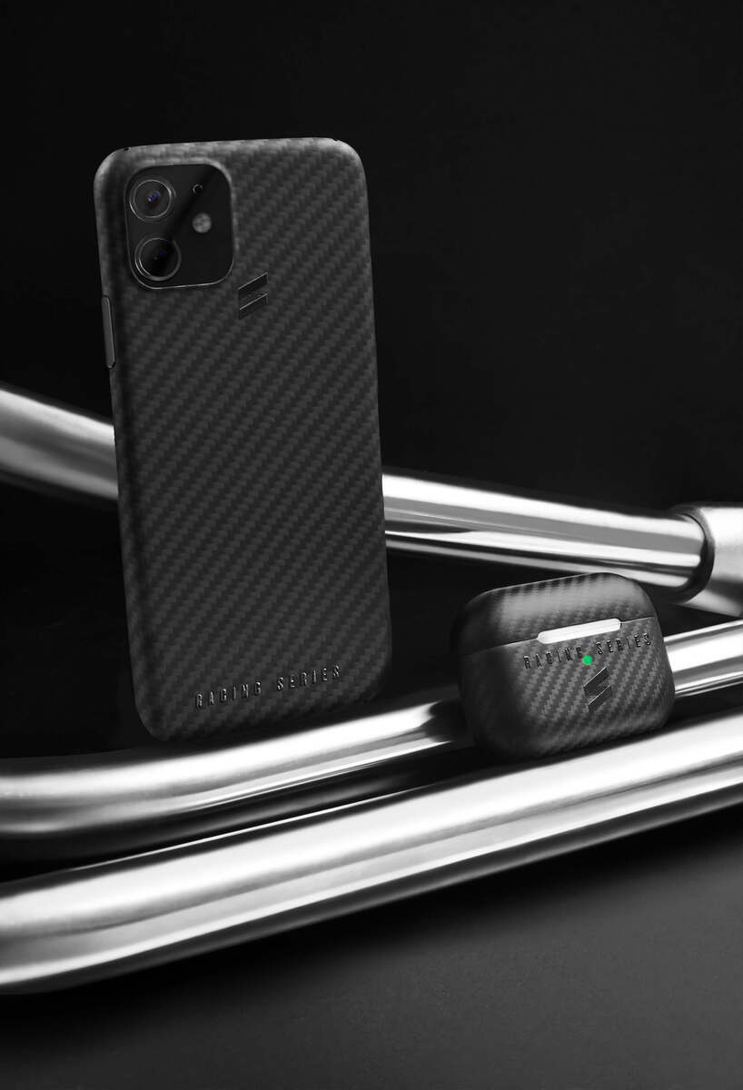 An iphone 12 with the carbon fiber case- Racing Series