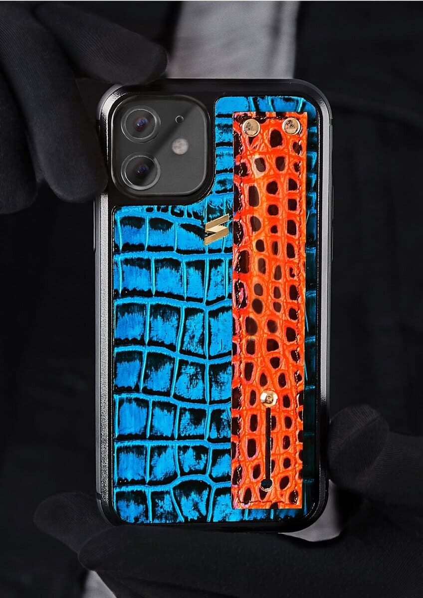 Benny Iphone Case in Blue with orange strap