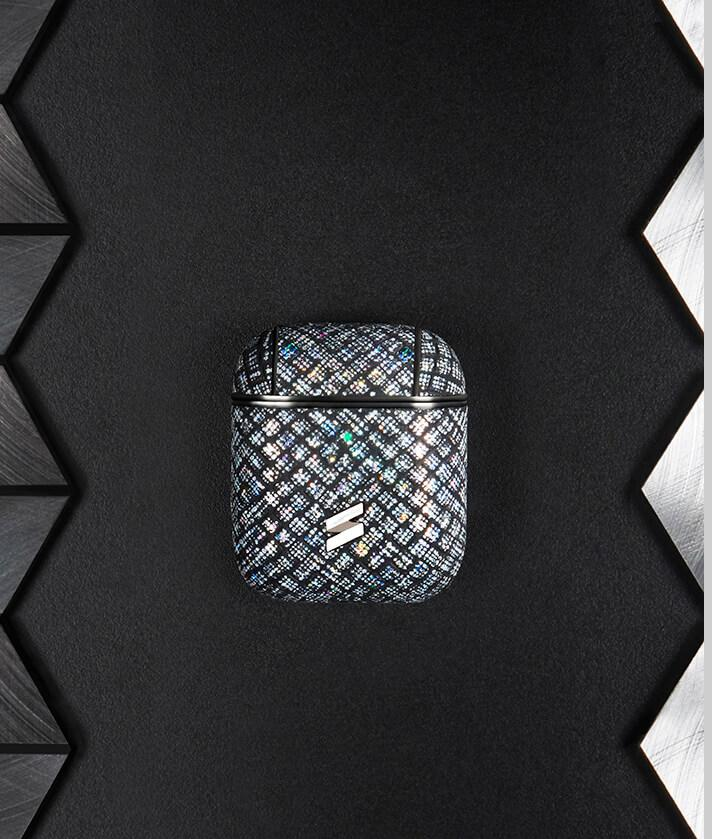 airpods leather case with iradescent glitter- Houdini