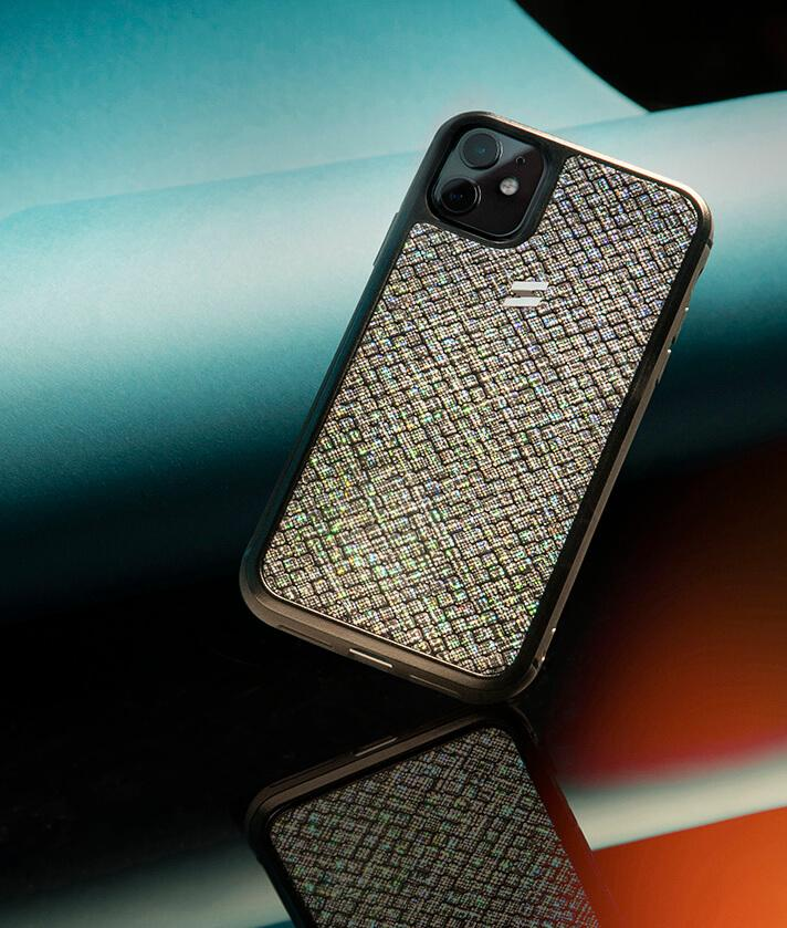 Iphone 11 leather case with iridescent glitter