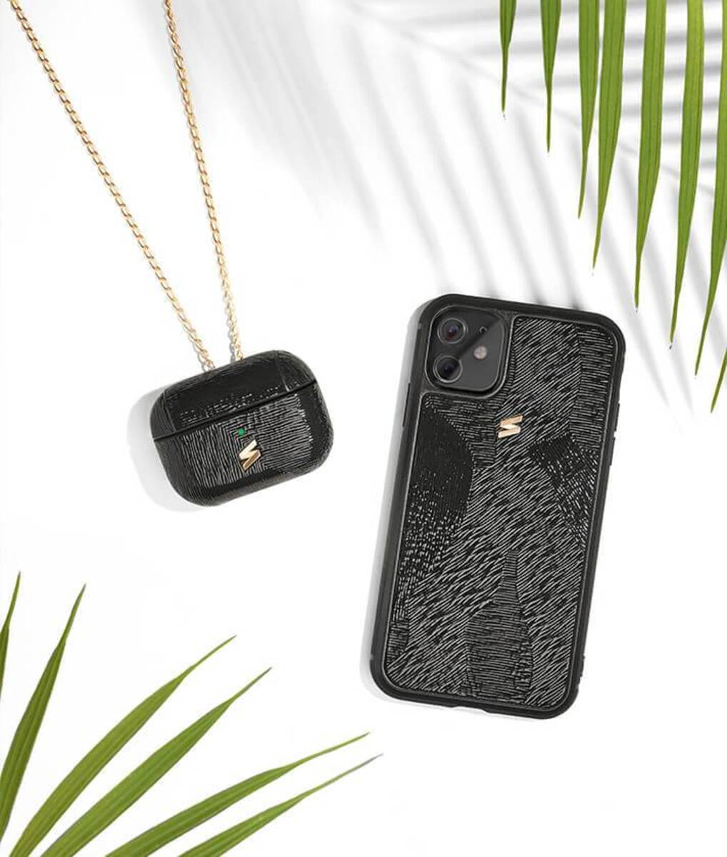 Iphone 11 case with camouflage texture in black patent leather