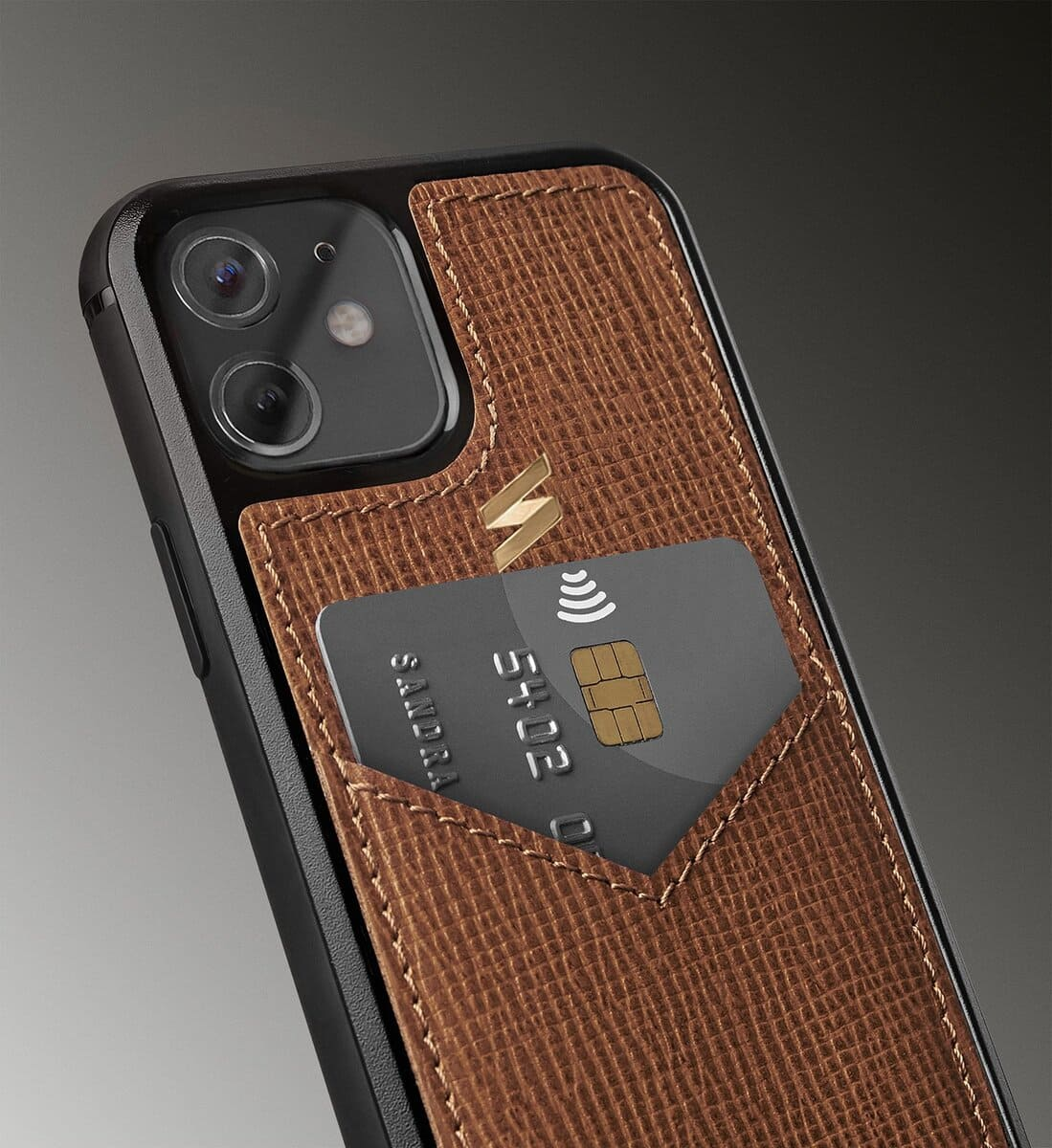 Iphone leather case with a compartment for credit cards