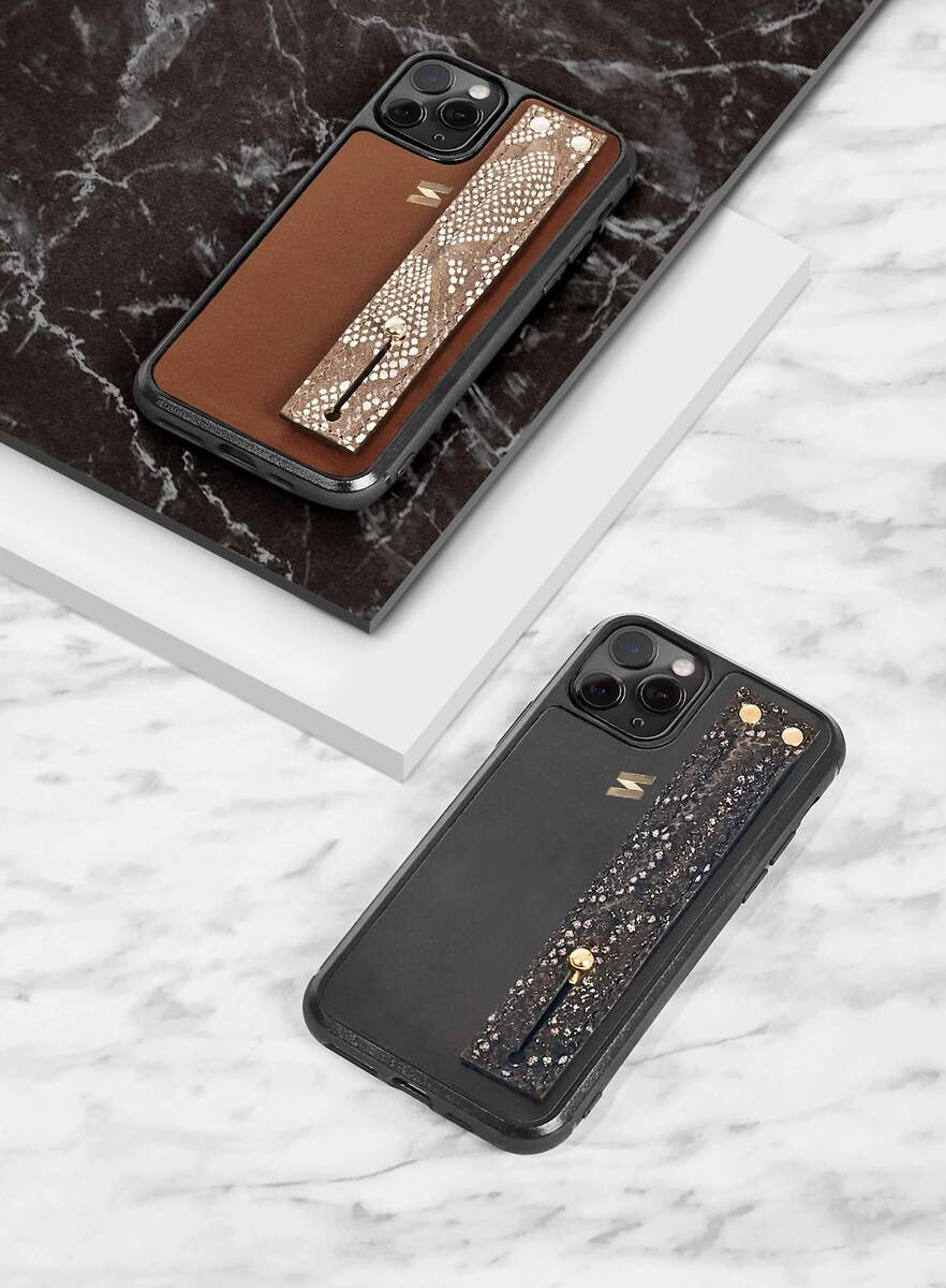 Shelma iphone 11 pro leather cases on a marble table