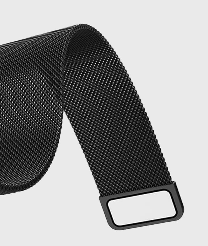 Black milanese band for apple watch with a magnetic closure