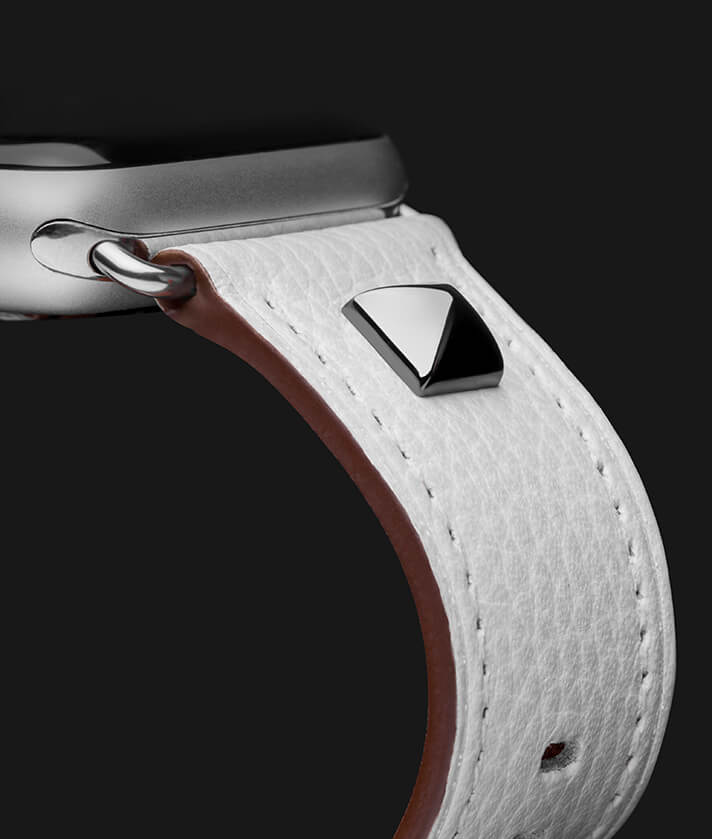 White leather strap for iwatch with a silver tack
