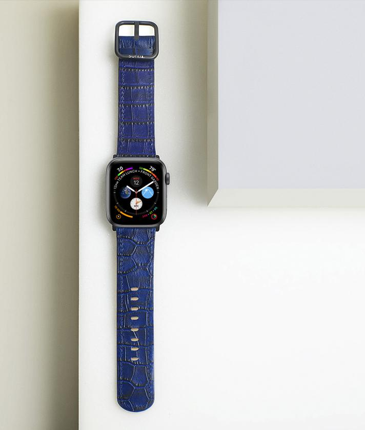 Blue leather band for apple watch with crocodile print