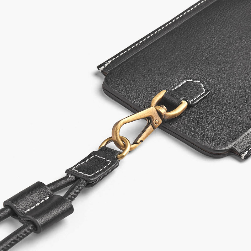Leather iPhone case with strap Tulum Black